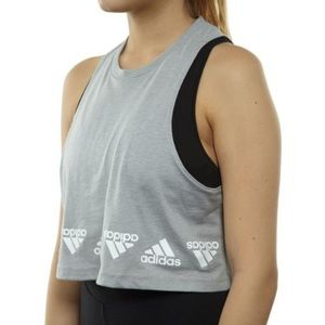 Adidas The Go-To Performance Tee Gray Crop Top